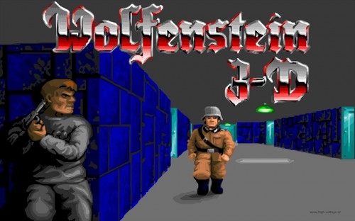 Playing the Atari and fighting the Nazi's on a MS-DOS PC at Wolfenstein 3D
