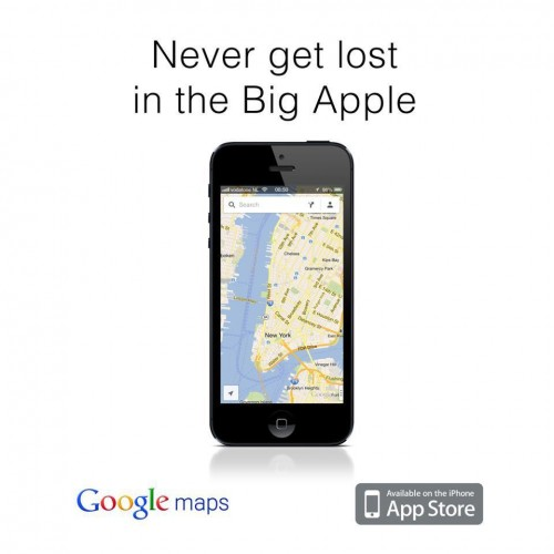 never get lost in the big apple, use google maps on iphone