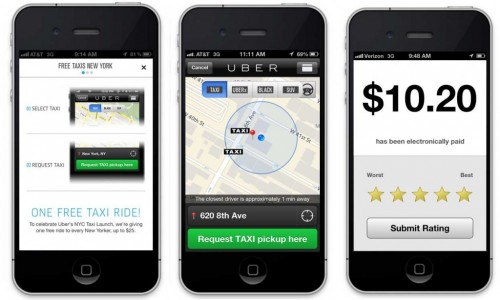 Uber private taxi: app on iphone