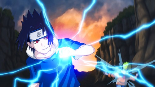 Uchiha Sasuke from Naruto with Chidori lightning powers