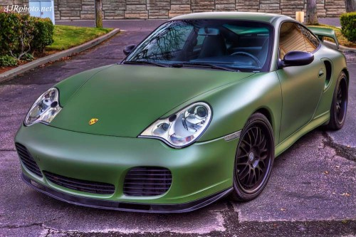 Vinyl-Styles-Porsche-911-996-Matte-Army-Green-wrap-front-left-side-view