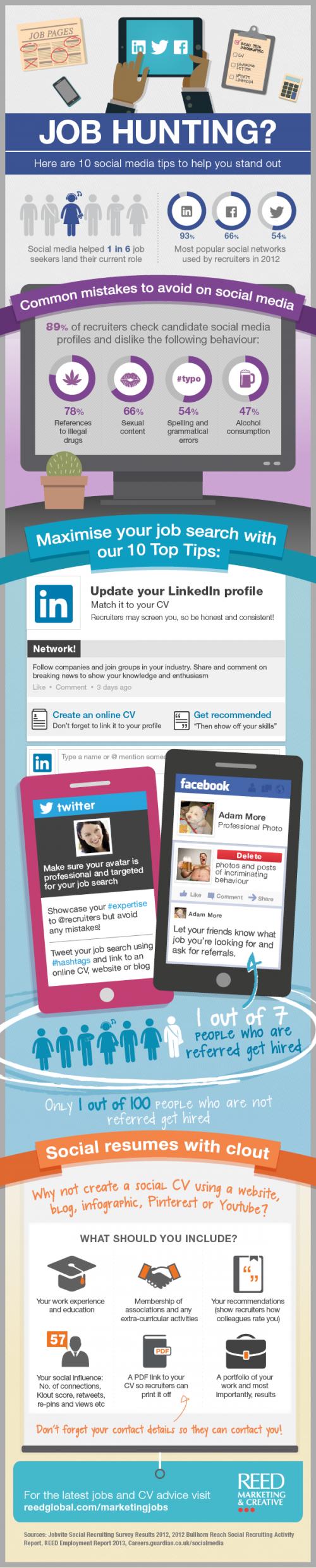 tips for finding a job using social media infographic job hunting social media