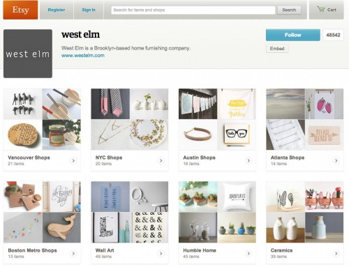 Etsy: Martha Stweart and West Elm Partnerships