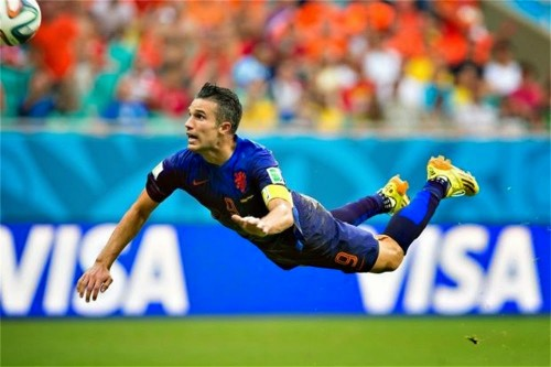 <strong>#persieing</strong> could be the new planking. The Flying Dutchman Robin van Persie is the most shared WC2014 moment so far.